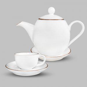 Bộ tách trà viền vàng