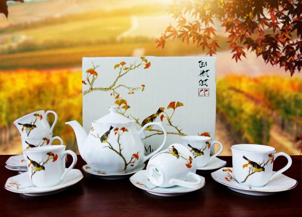 bộ tách trà chim mùa thu