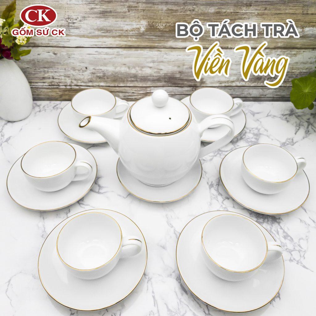 Bộ tách trà viền vàng sang trọng