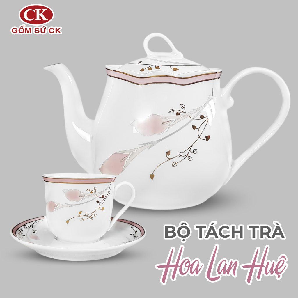 bộ tách trà hoa lan huệ